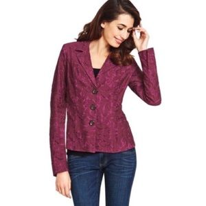 CAbi #128 Frolic Jacket In Plumbery Lace 2 4 6 8